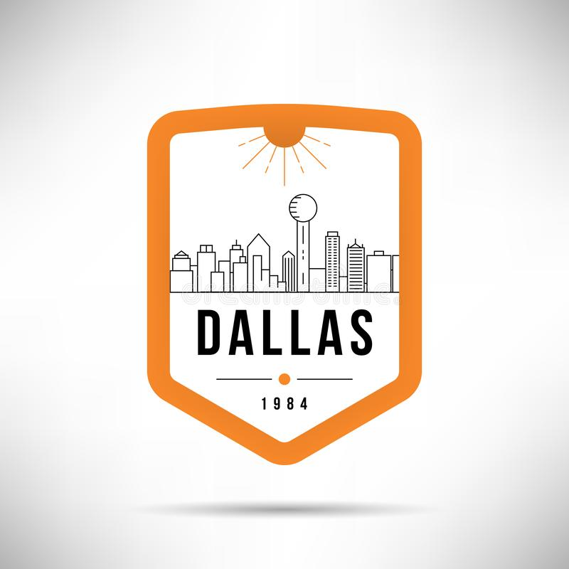 Dallas City Modern Skyline Vector-Malplaatje stock illustratie