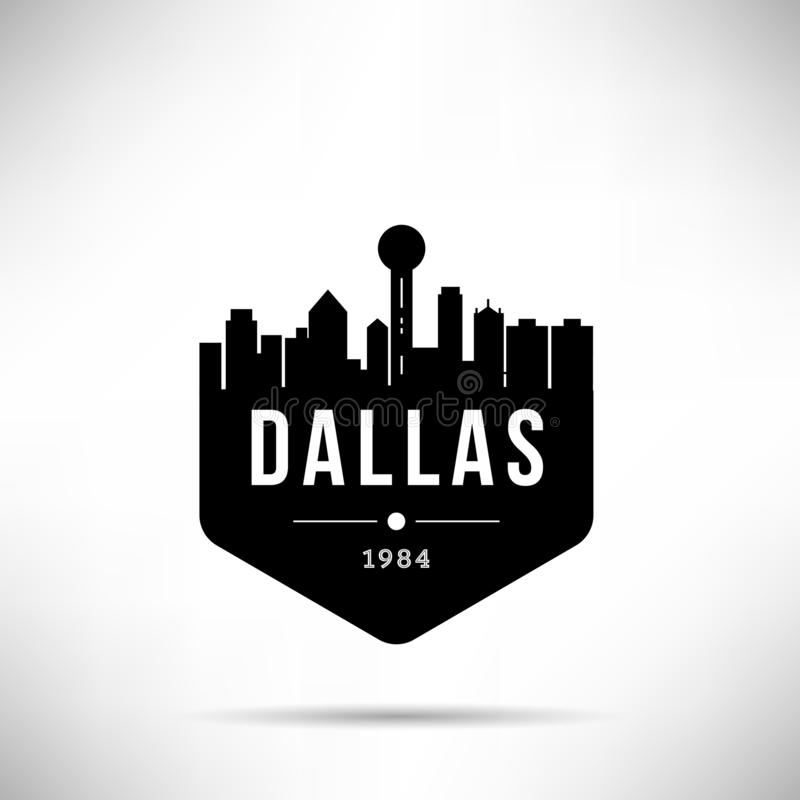 Dallas City Modern Skyline Vector-Malplaatje stock illustratie