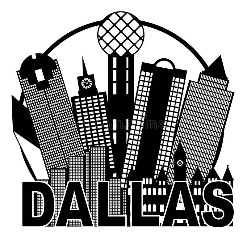 Dallas City Skyline Black und weiße Kreis-Vektor-Illustration vektor abbildung