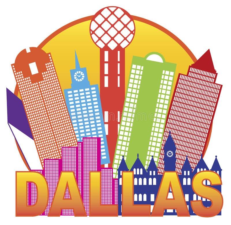 Dallas City Skyline Color Circle-Vektor Illustrati stock abbildung