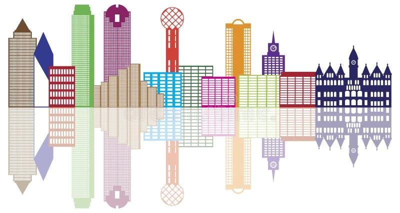 Dallas City Skyline Color Outline-Vektor Illustrat lizenzfreie abbildung