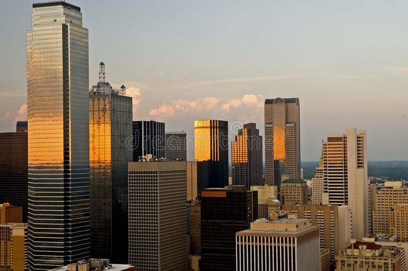 Dallas City Skyline in Evening royalty free stock images