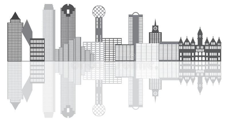 Dallas City Skyline Grayscale Illustration vektor abbildung