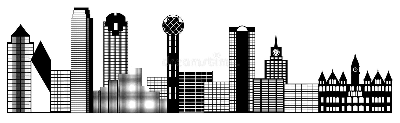 Dallas City Skyline Panorama Clip Art royalty free illustration