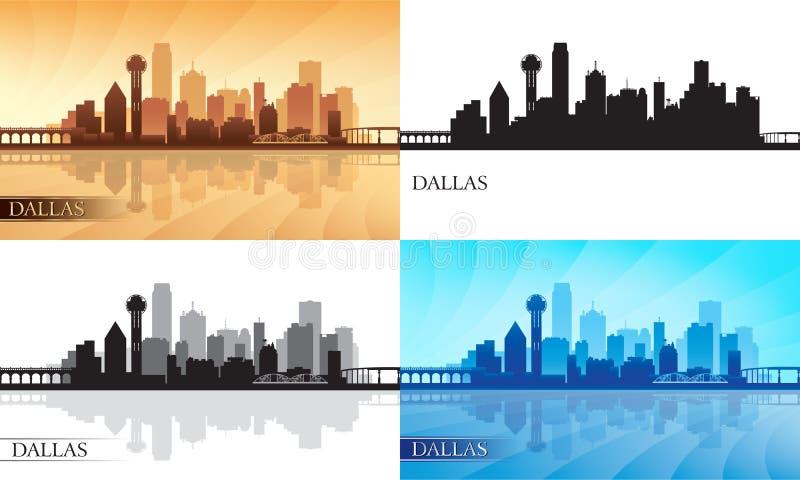 Dallas city skyline silhouettes set stock illustration