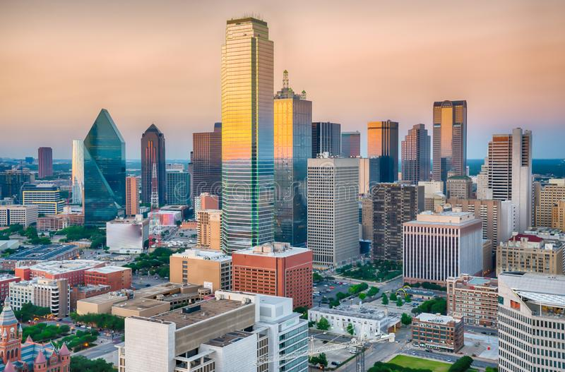 Dallas City Skyline Sunset images libres de droits