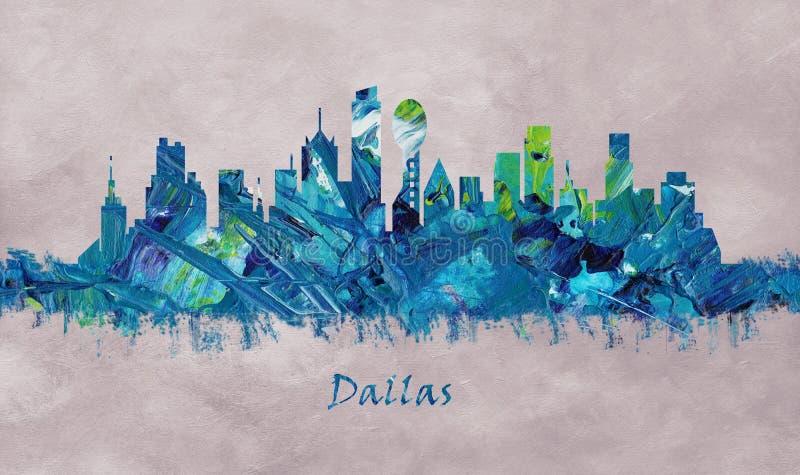 Dallas City in Texas, Horizon royalty-vrije illustratie