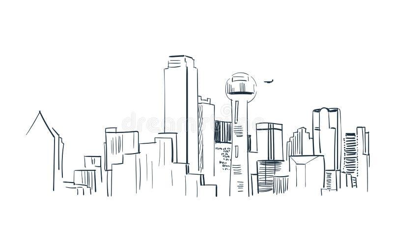 Dallas city vector sketch landscape line illustration skyline royalty free illustration