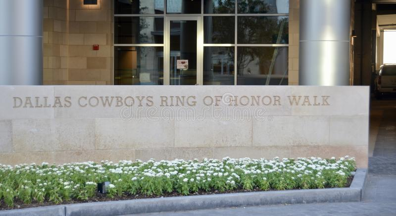 Dallas Cowboys Ring of Honor Walk. The Dallas Cowboys Ring of Honor RoH was a ring around Texas Stadium in Irving, Texas and currently around AT&T Stadium in royalty free stock photography