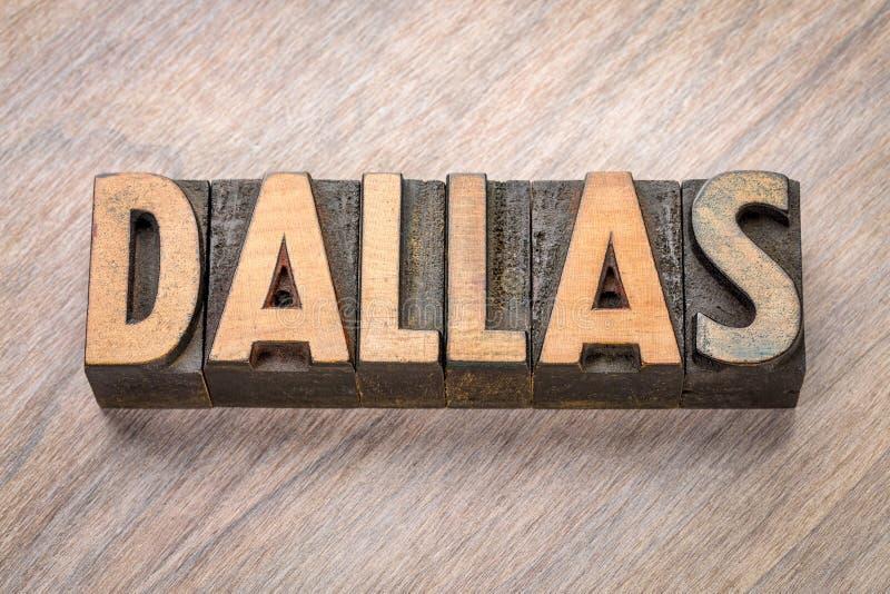 Dallas dans le type en bois de vintage photographie stock