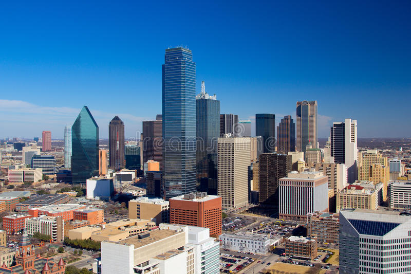 Dallas Downtown Panorama royalty-vrije stock fotografie