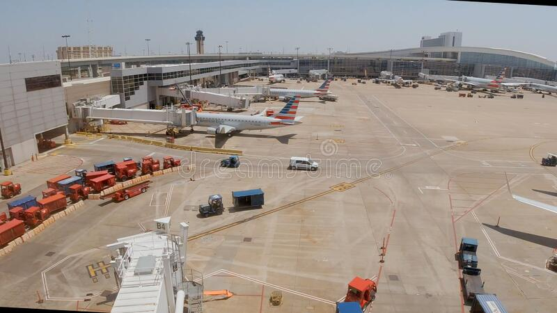 Dallas Fort Worth Airport airfield - DALLAS, UNITED STATES - JUNE 20, 2019. Dallas Fort Worth Airport airfield - DALLAS, TEXAS - JUNE 20, 2019 stock images