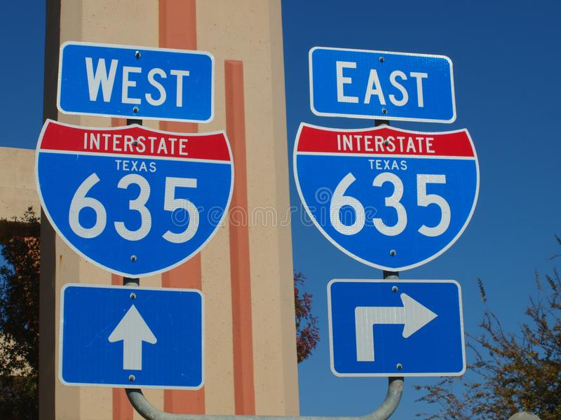 Dallas High 5 Interchange Signs. The Dallas High 5 is a 5-tier, 110 feet above grade level traffic interchange with US 75 Central Expressway. These signs will stock image