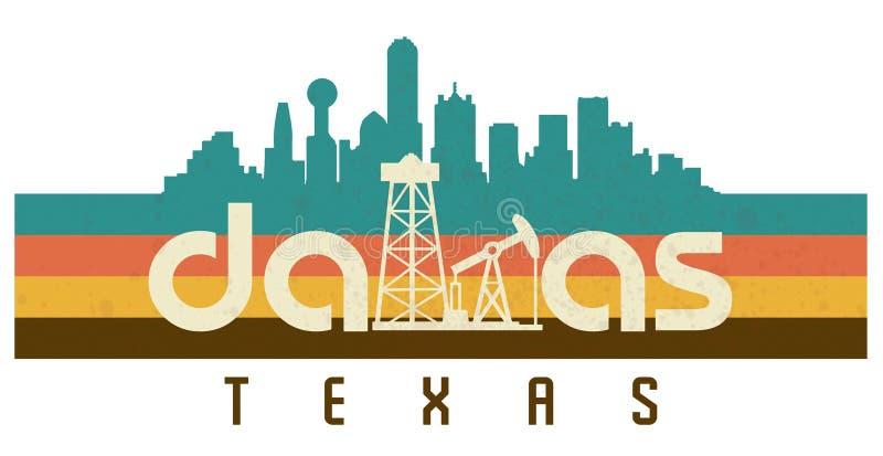 Dallas Logo T Shirt Retro 70s Disco Vintage Texas. Dallas Texas Logo Art Vintage Retro 70s Disco Style skyline oil wells drilling royalty free illustration