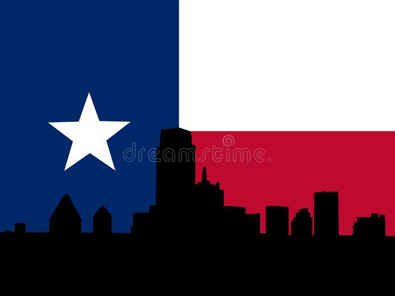 Dallas mit Texanmarkierungsfahne vektor abbildung