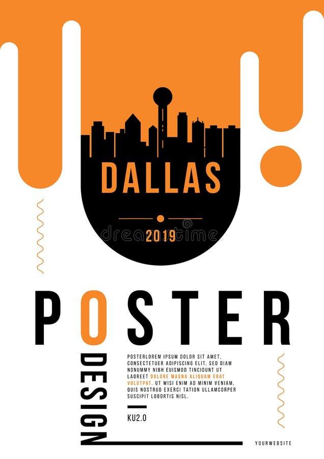 Dallas Modern Web Banner Design com skyline do vetor ilustração royalty free