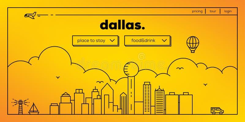 Dallas Modern Web Banner Design com skyline linear do vetor ilustração stock