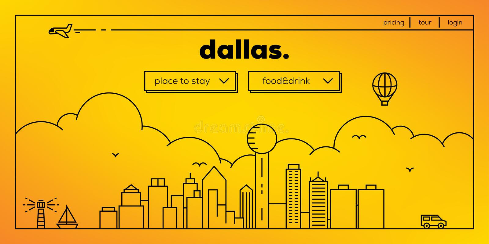 Dallas Modern Web Banner Design met Vector Lineaire Horizon stock illustratie