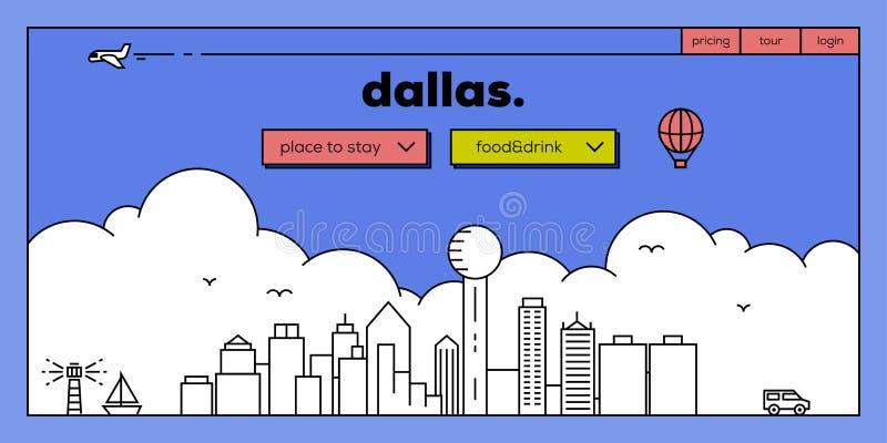 Dallas Modern Web Banner Design met Vector Lineaire Horizon royalty-vrije illustratie