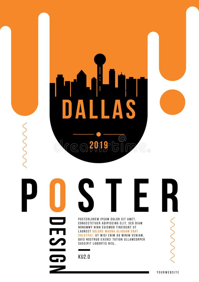 Dallas Modern Web Banner Design with Vector Skyline royalty free illustration