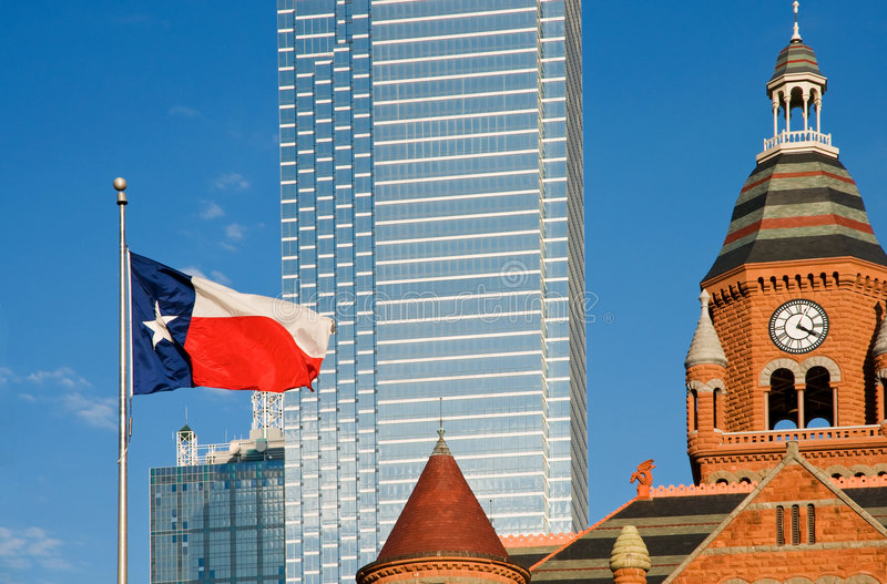 Dallas museum and Texas flag royalty free stock image