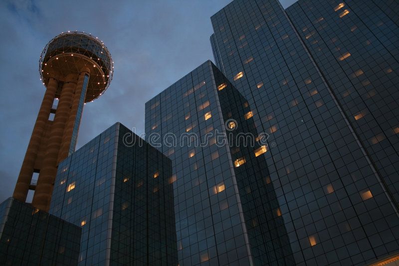 Dallas: Reunion Tower At Night. Reunion Tower is a beacon in the evening to Dallas visitors, a well-known landmark. View at dusk royalty free stock photos