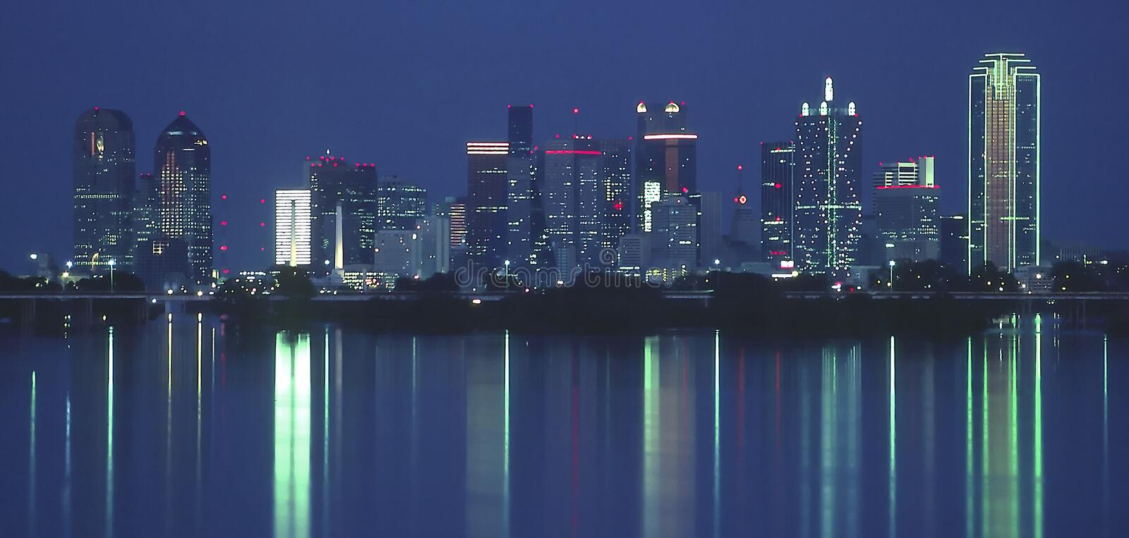 Dallas at Night. Dallas Texas Skyline at night with reflection