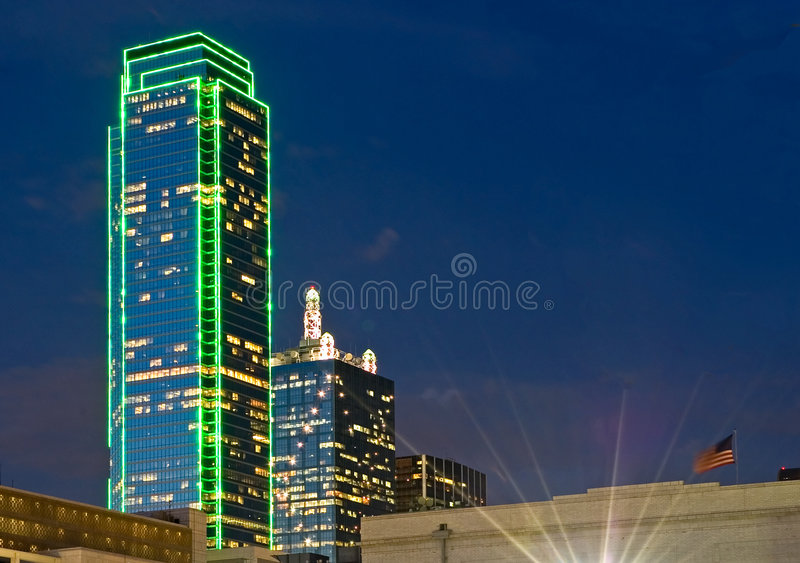 dallas night skyline στοκ εικόνα με δικαίωμα ελεύθερης χρήσης
