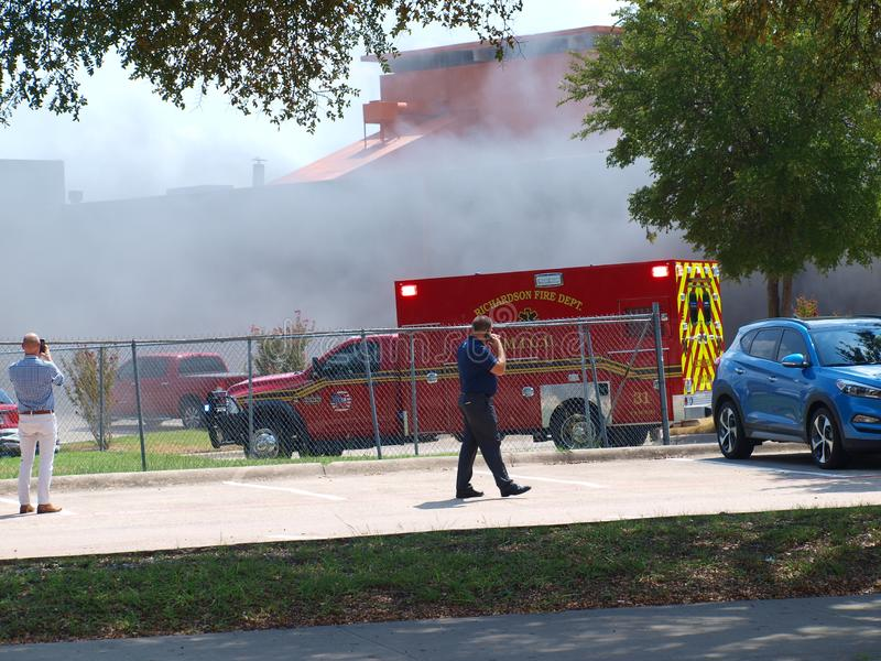 Vent-A-Hood Richardson Fire and Heavy Smoke. Dallas,19 September 2018. A multi-alarm fire that caused evacuation of employees broke out in the facility next to stock photos