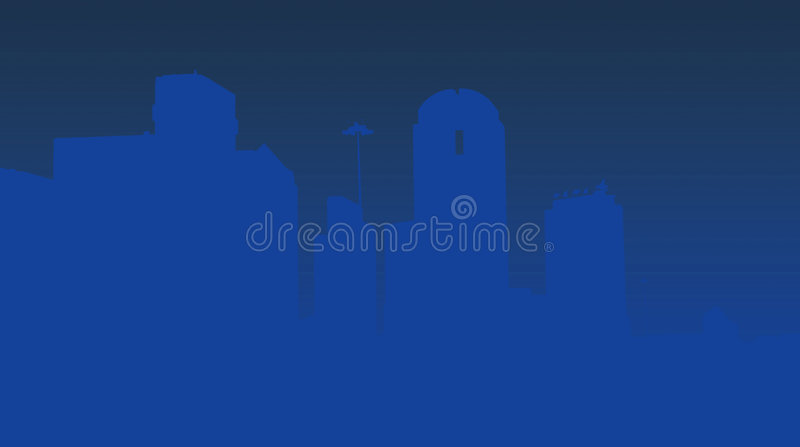 Dallas skyline in blue stock illustration