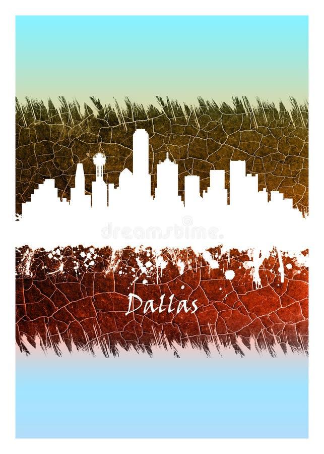 Dallas Skyline Blue en Wit royalty-vrije illustratie