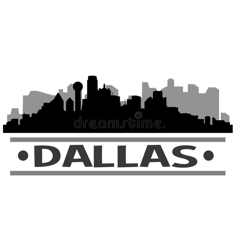 Dallas Skyline City Icon Vector Art Design royalty-vrije illustratie