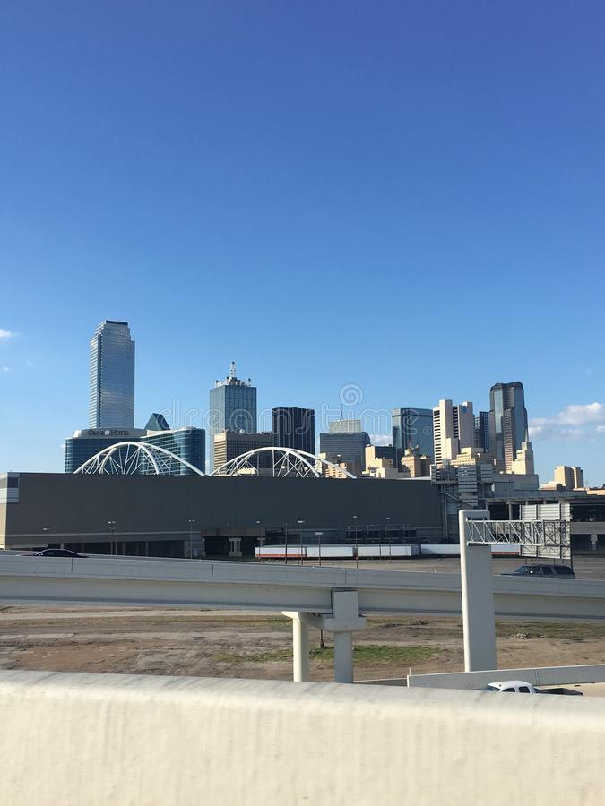 Dallas Skyline from I-35 Highway stock image