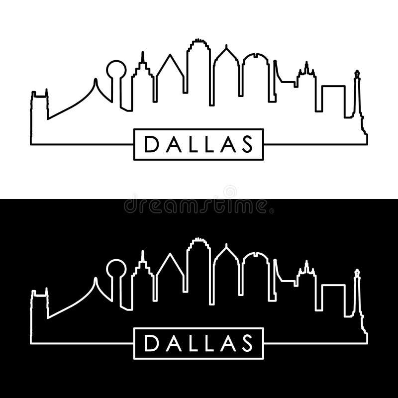Dallas Skyline Lineare Schwarzweiss-Art vektor abbildung