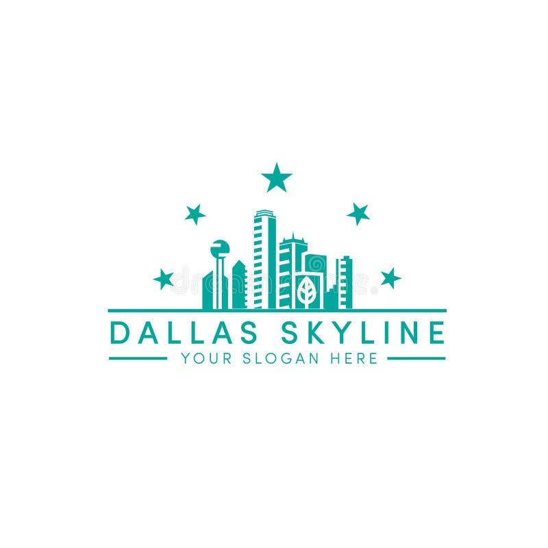 Dallas skyline logo designs with 5 stars logo. Dallas skyline logo designs with stars and line art logo and minimalist vector illustration