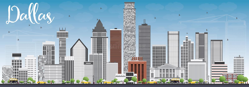 Dallas Skyline met Gray Buildings en Blauwe Hemel royalty-vrije illustratie