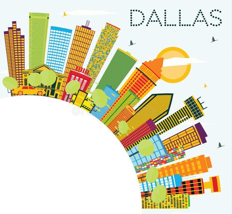 Dallas Skyline met Kleurengebouwen, Blauwe Hemel en Exemplaarruimte stock illustratie