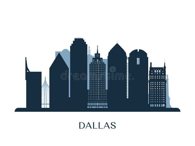 Dallas skyline, monochrome silhouette. vector illustration