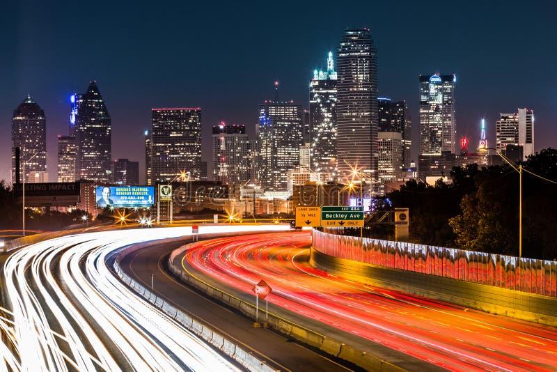 Dallas skyline by night royalty free stock photos