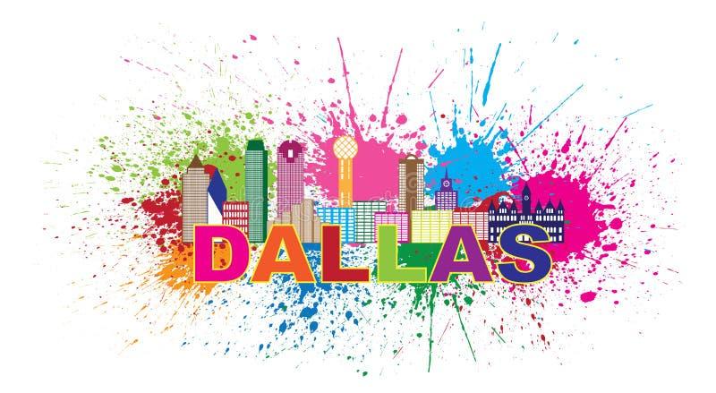 Dallas Skyline Paint Splatter Color vektorillustration royaltyfri illustrationer