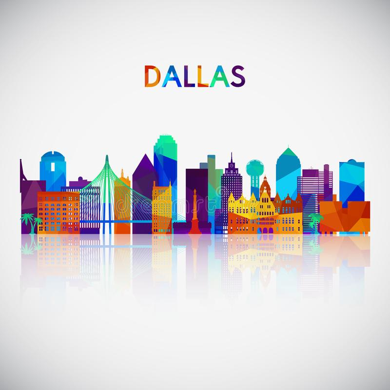 Dallas skyline silhouette in colorful geometric style. vector illustration