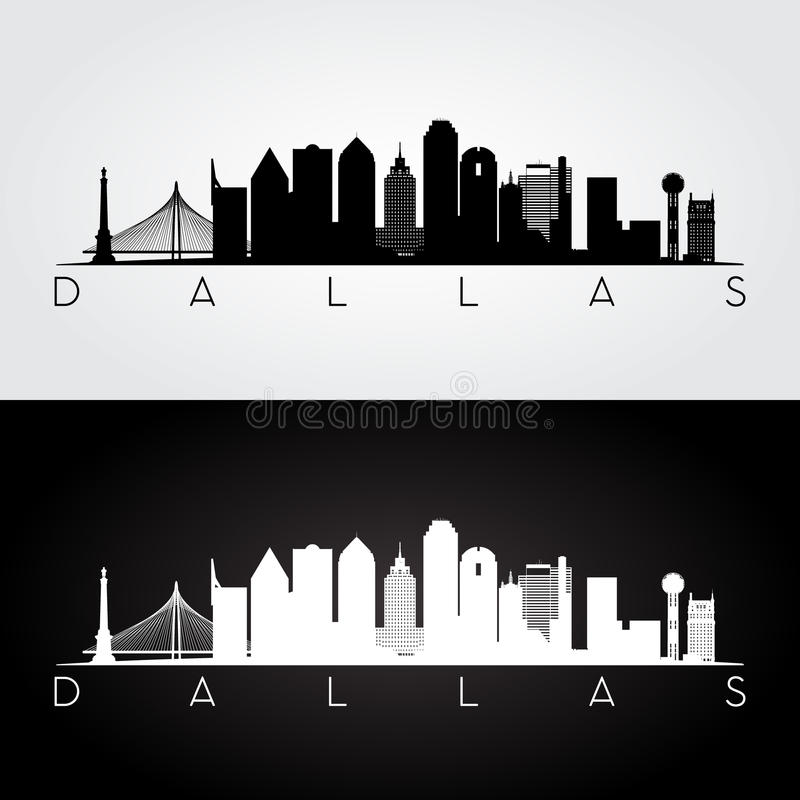 Dallas skyline silhouette royalty free illustration