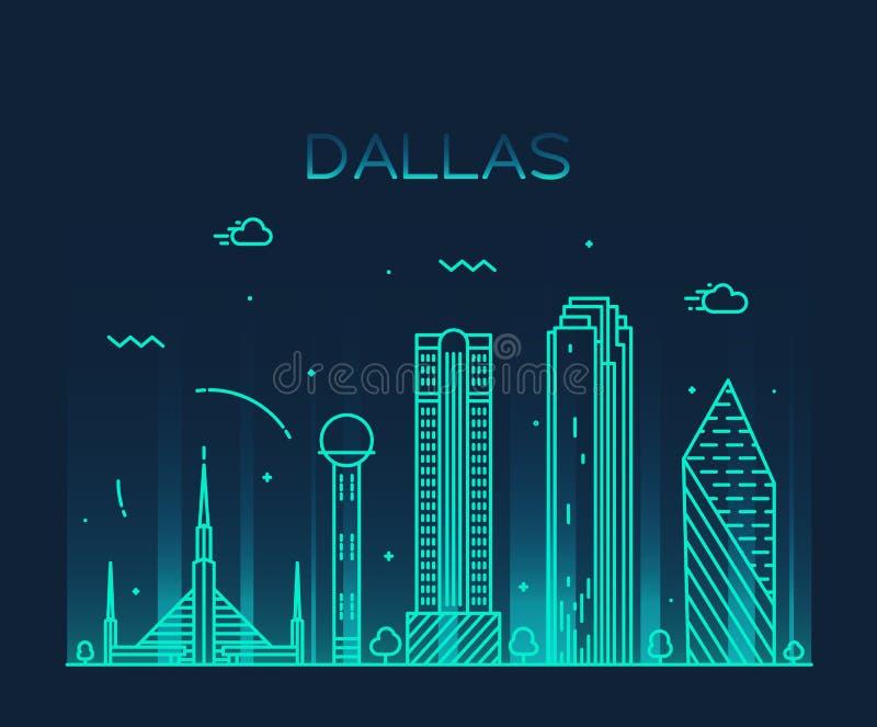 Dallas skyline trendy vector illustration linear royalty free illustration