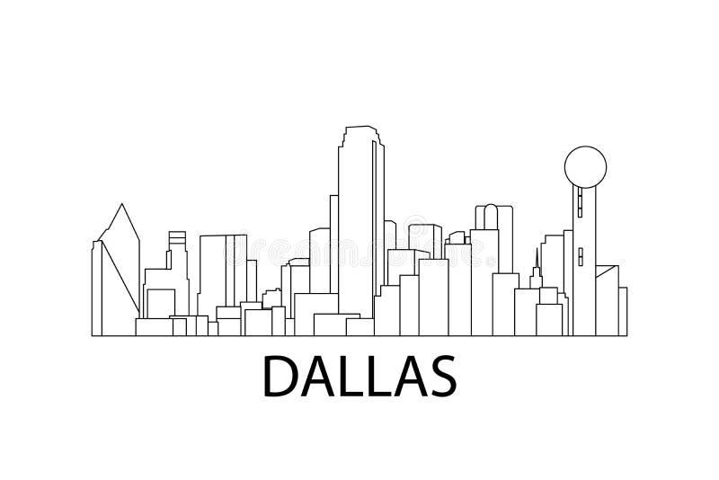 Dallas Skyline Vector illustratie Dallas, Texas, de V.S. royalty-vrije illustratie