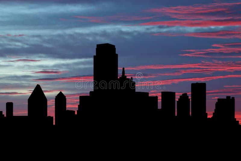 Dallas skyline vid solnedgångsillustration royaltyfri bild