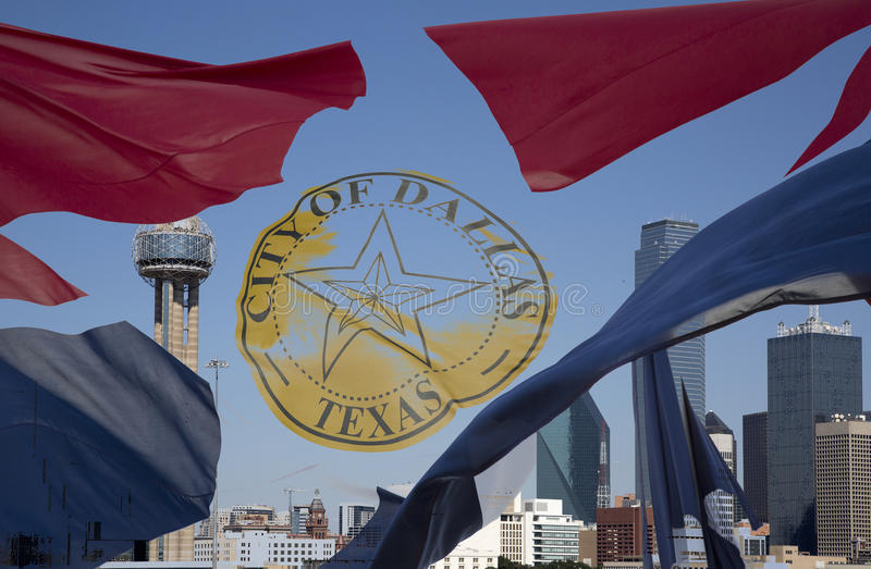 Download Dallas Skyline And  Waving City Flag Stock Photo - Image: 73567526