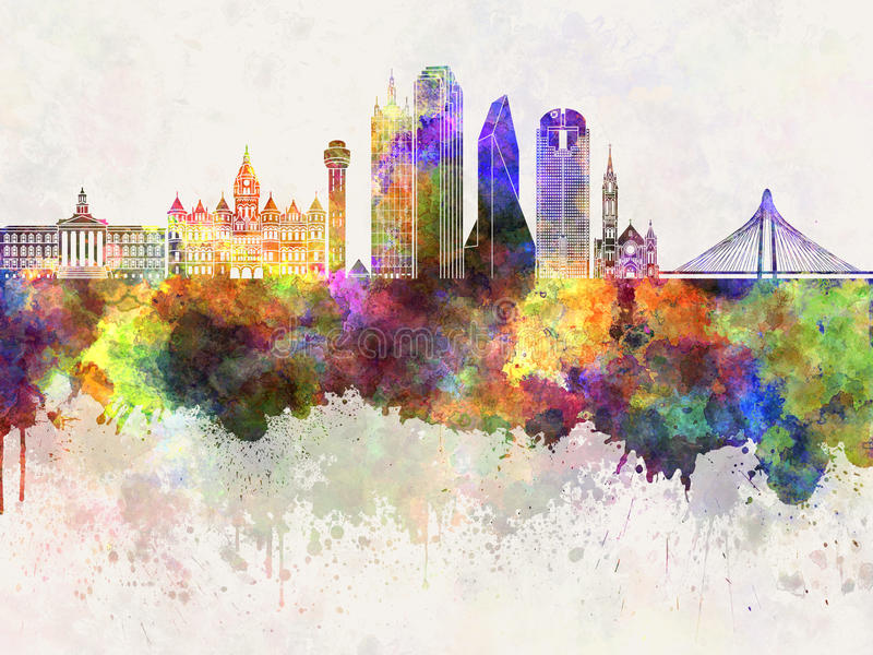 Dallas skyline in wb royalty free illustration