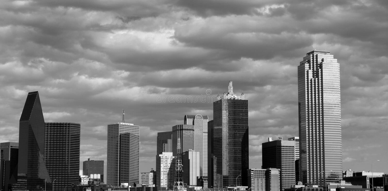 Dallas Skyline in zwart-wit royalty-vrije stock afbeelding
