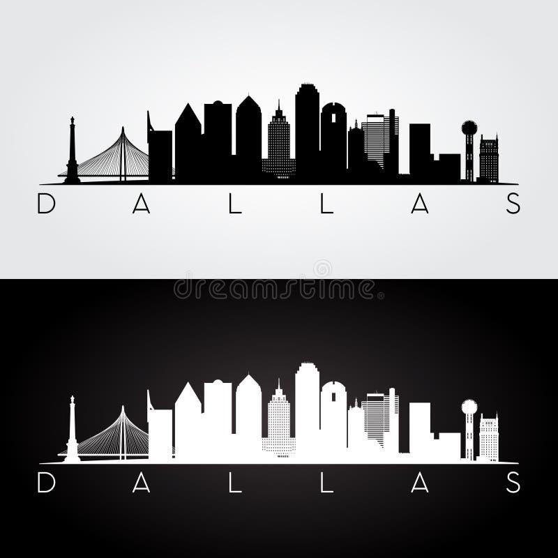 Dallas-Skylineschattenbild lizenzfreie abbildung