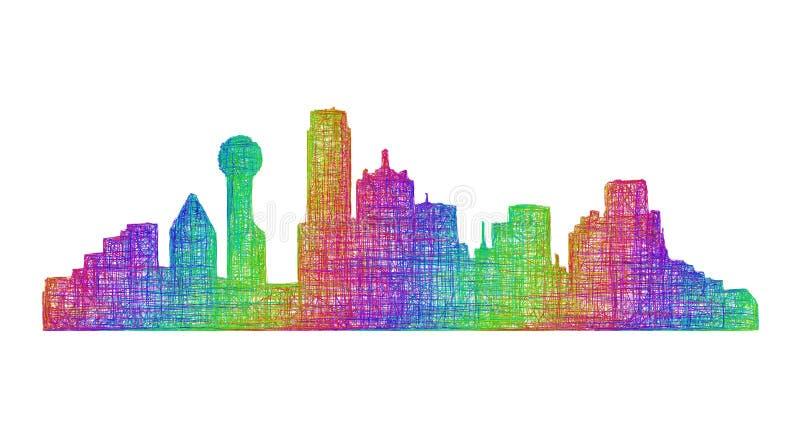 Dallas-Skylineschattenbild - Mehrfarbenlinie Kunst lizenzfreie abbildung